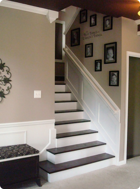 wood and white stair makeover