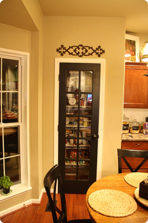 Black glass pantry door