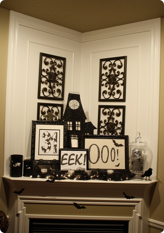 Easy black and white Halloween mantel