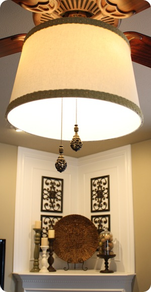 Add A Drum Shade To A Ceiling Fan In Minutes Thrifty Decor Chick