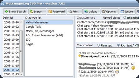 Messenger History View with MessengerLog