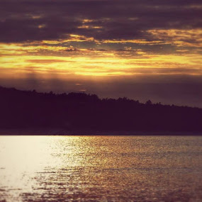 Sunset on the Sea by Nat Bolfan-Stosic - Landscapes Sunsets & Sunrises ( adriatic, gentle, sunset, sea, golden,  )