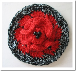red and black flower brooch by tamdoll