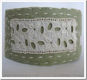 Green Linen Cuff Bracelet