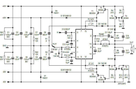 Circuit of potency audio amplifier High Efficiency ,hi-fi, with tda7294s