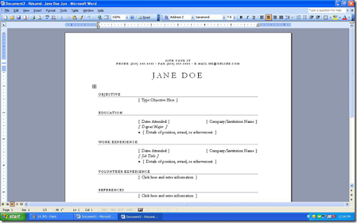 Laptop Lab How to make a resume stepbystep with Microsoft Word