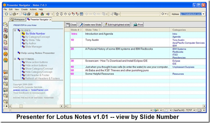 Presenter_for_Lotus_Notes_v1.01_view_by_Slide_Number