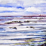 Waddenzee bij Texel, aquarel