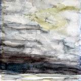 slecht weer boven zee, aquarel