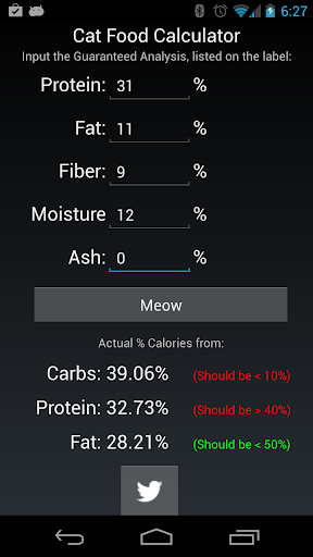 Cat Food Nutrition Calculator