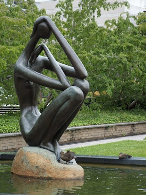 Ducks and statue
