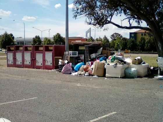 Charity bin dumping in Gungahlin