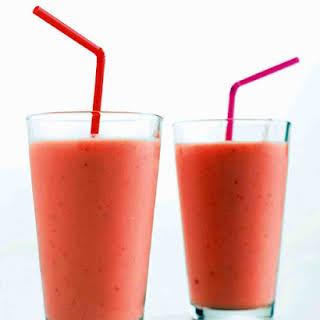 Strawberry, Mango, and Yogurt Smoothie.