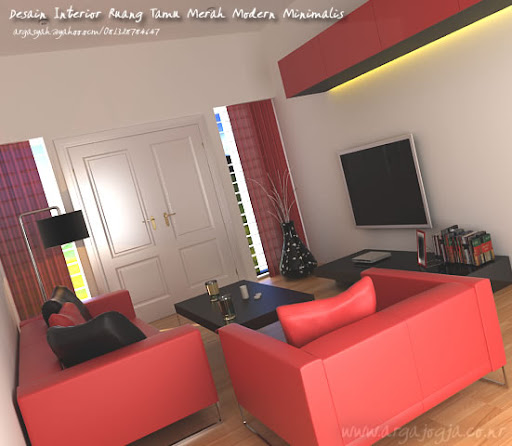 Ruang Tamu Minimalis Merah Jasa
