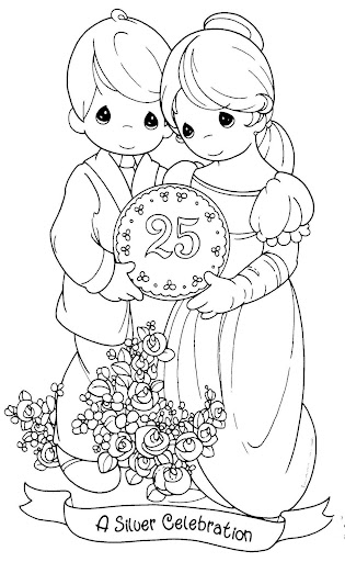 wedding anniversary coloring pages, precious moments ...