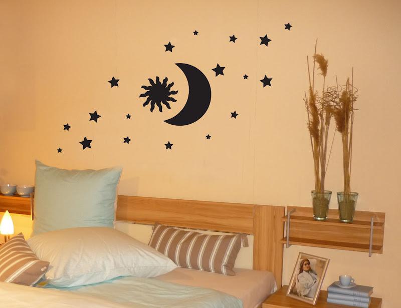wandtattoo wandaufkleber tattoo sonne mond und sterne ebay. Black Bedroom Furniture Sets. Home Design Ideas