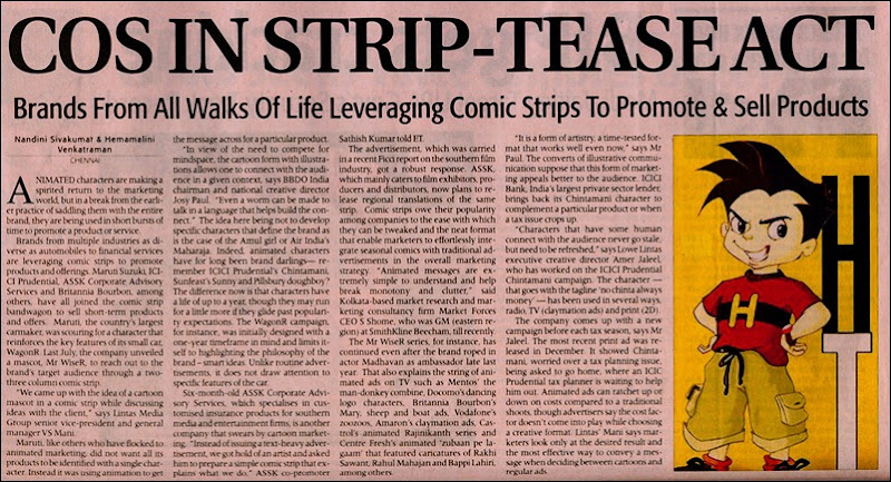 Economic Times Dated 19th Feb 2010 Page 4 Business Branding through Comic Strips