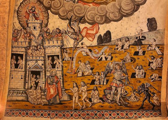 Pintures renaixentistes de l'església de Santa Maria d'Arties, 1580, el Judici Final, detall de l'escena del Cel.Naut Aran, Val d'Aran, Lleida