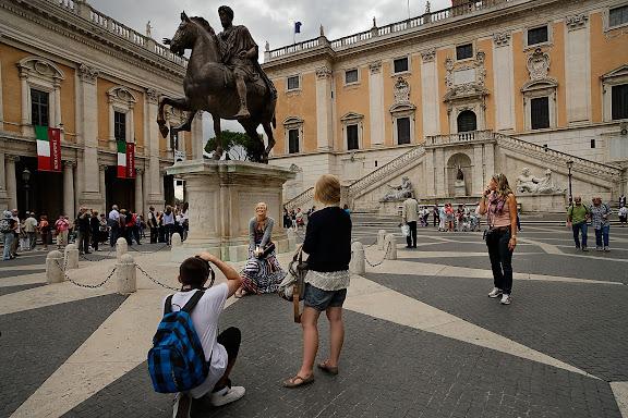Plaza del Campidoglio ('Capitolio'), remodelada según diseño de Miguel Ángel.Roma, Italia.