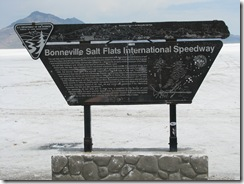 1967 Plaque at end of Road to Bonneville Salt Flats International Speedway UT