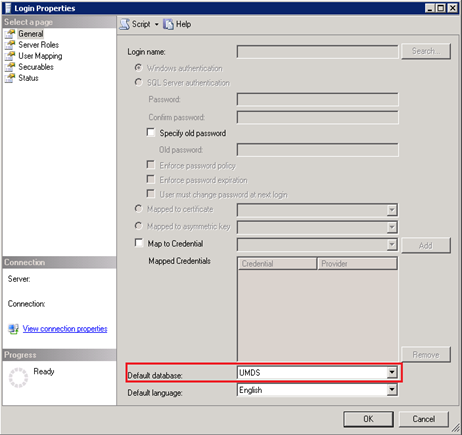 Screenshot of Login Properties in Microsoft SQL Server 2008 Management Studio