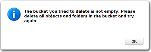 Amazon S3: The bucket you tried to delete is not empty. Please delete all objects and folders in the bucket and try again.