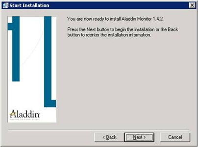 Aladdin HASP Monitor installer: ready to install screen