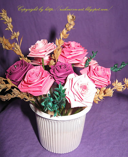 3D Quilled Paper Rose Flowers Bouquets