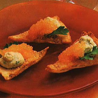 Smoked Caviar and Hummus on Pita Toasts Recipe
