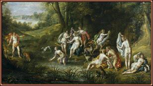 Paisaje con Diana y Acteón, por Denis van Alsloot. Museo del Prado