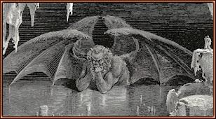 Gustave Doré. Dite (Lucifer) devorando a Judas por la cabeza. Grabado