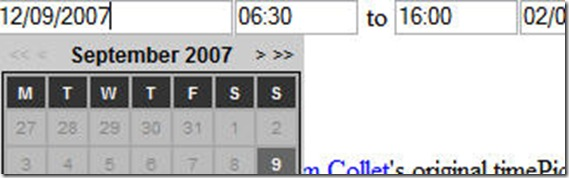 jQuery time date Picker