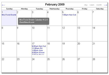 MooTools Events Calendar