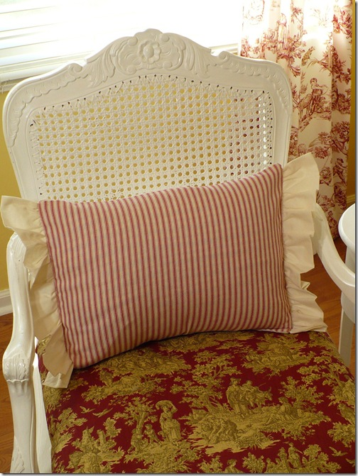 ticking pillow with ruffled edge