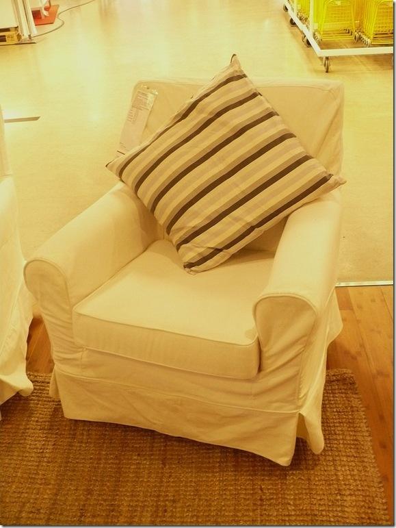 white slipcovered ikea chair