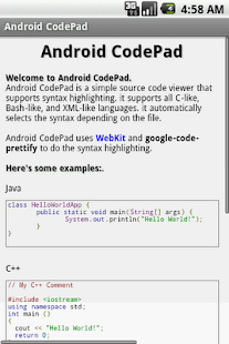 Android CodePad - screenshot thumbnail
