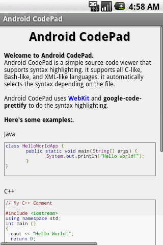 Android CodePad - screenshot