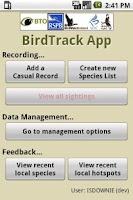 Screenshot of BirdTrack