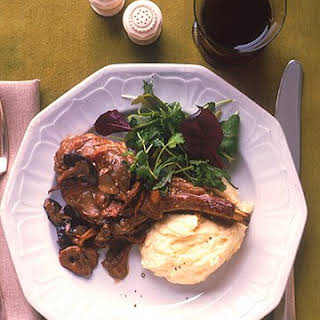 Veal Chops with Creamy Mushroom Sauce and Mashed Potatoes.