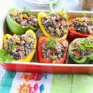 Black Quinoa stuffed Bell Peppers.