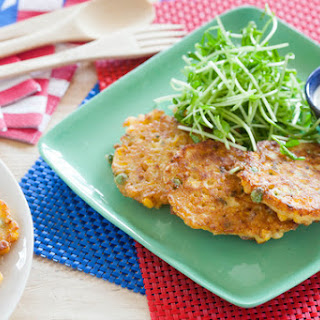 Crispy Sweet Corn & Pea Fritters with Rémoulade & with Pea Shoot Salad