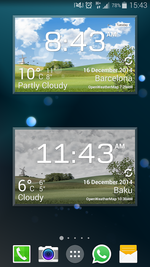 animated weather widget android