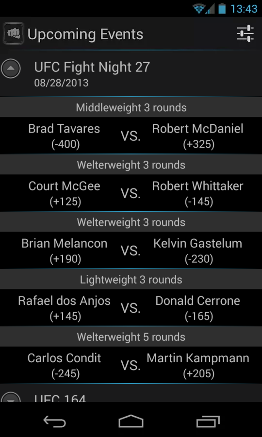 MMA Odds - screenshot