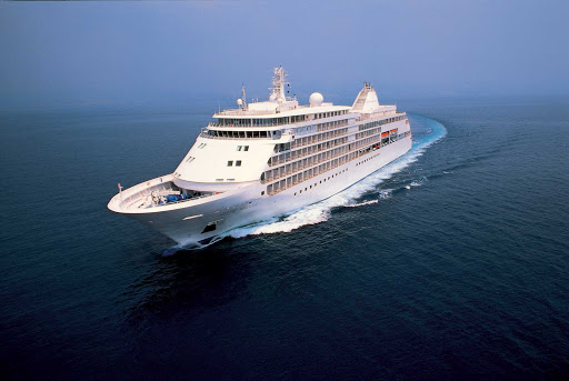 Silver_Whisper_at_sea - Silver Whisper explores an exotic route with its trademark ambience. Guests  enjoy amenities usually found only on larger ships.