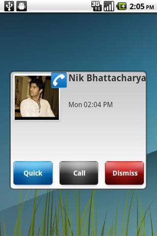 Missed Call and SMS Popup - screenshot