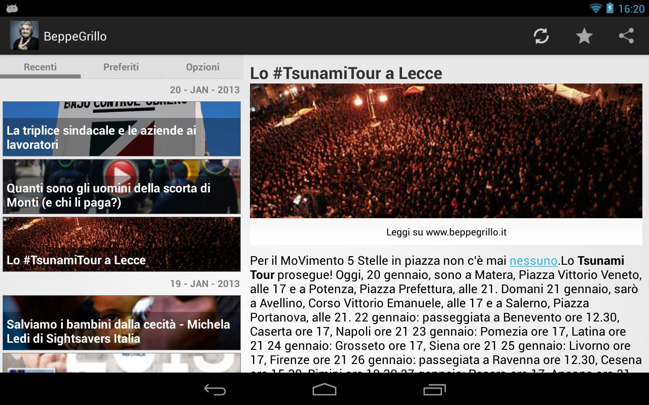 Beppe Grillo Blog Italian news- screenshot