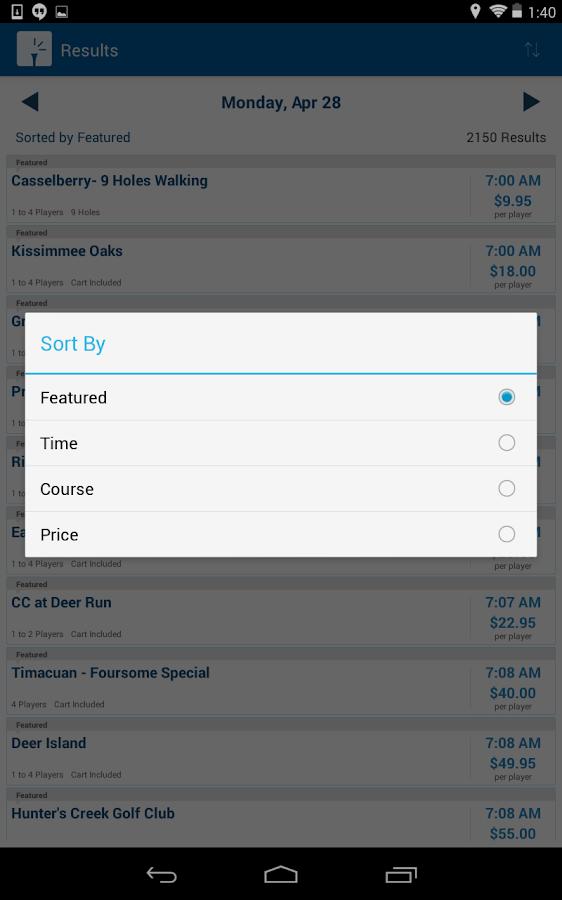 TeeTimes - screenshot