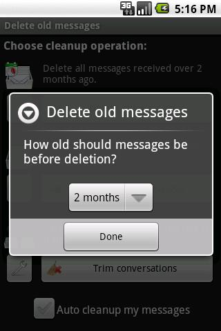 Delete old messages - screenshot