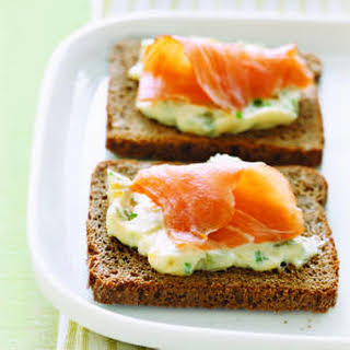 Smoked Salmon and Egg Canapes.