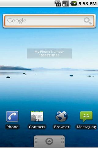 My Phone Number & Info Widget - screenshot